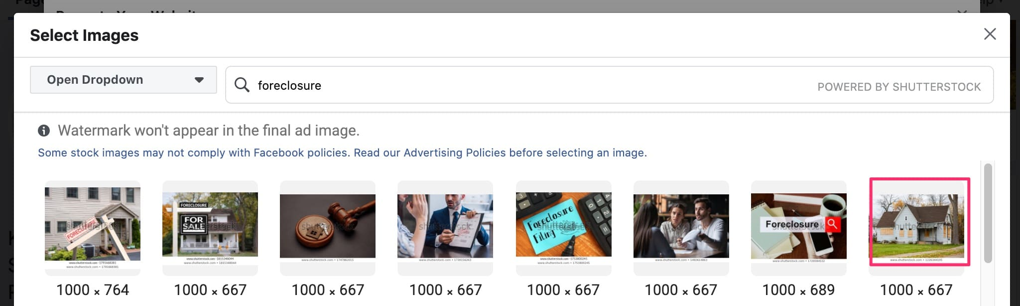 Select from Facebook ad image library