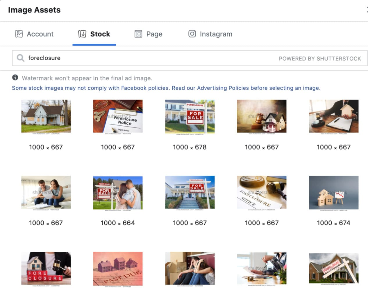 Stock image selection in Facebook ads interface