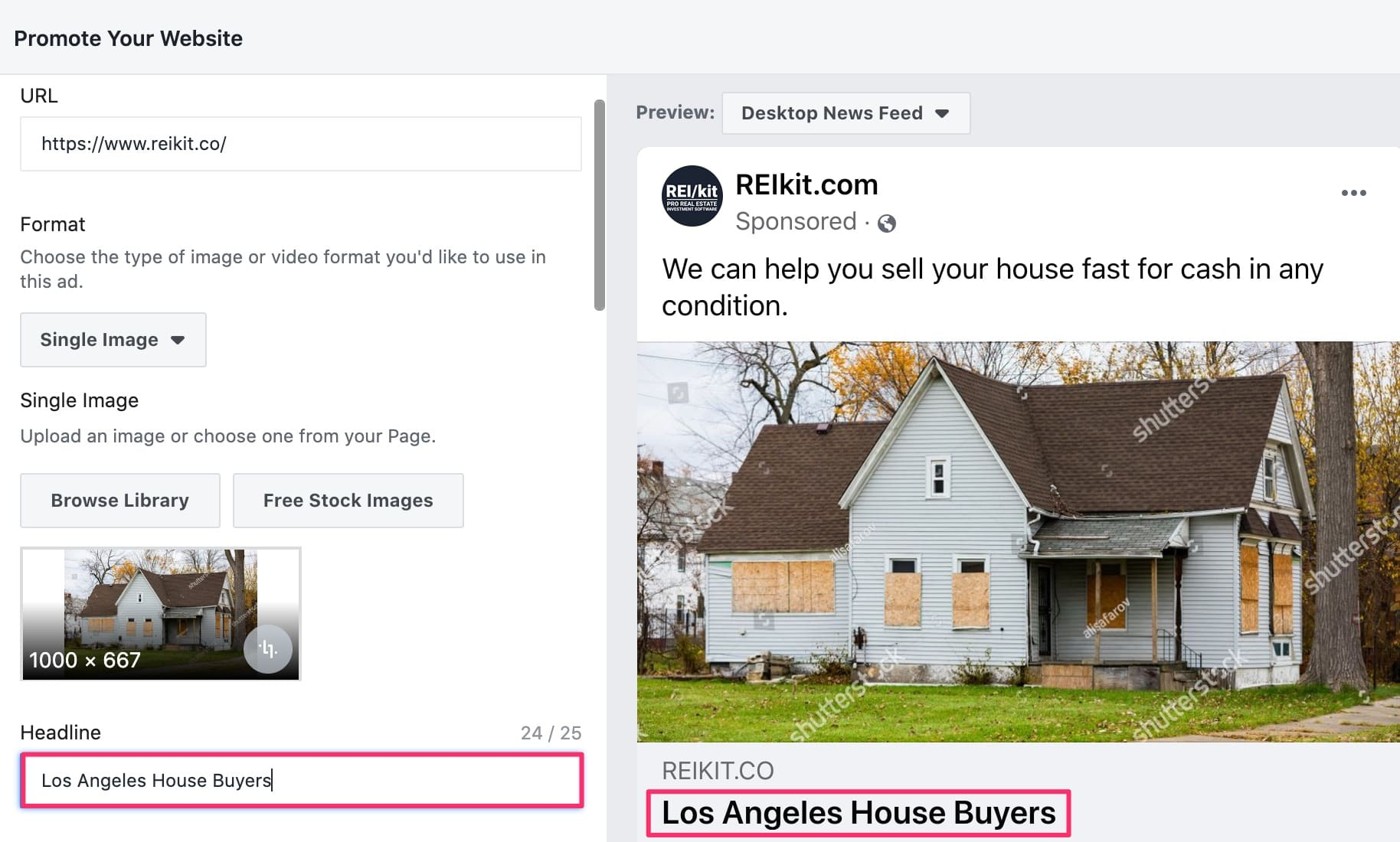 Headline field in Facebook ad creation interface