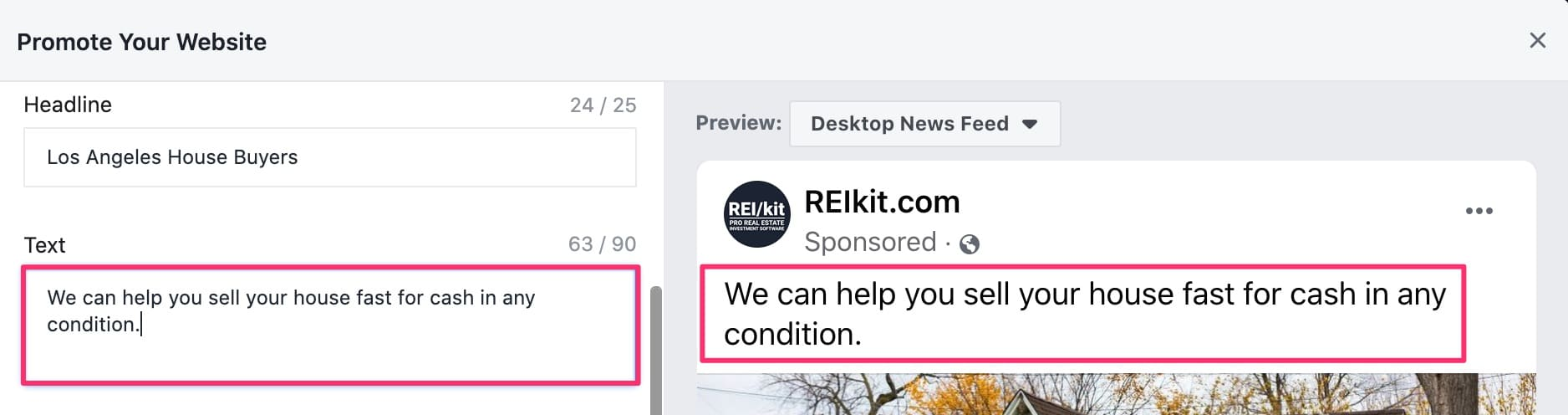 Ad copy text in Facebook ad creation interface