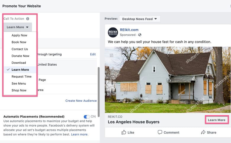 Call to Action selections available in Facebook ad