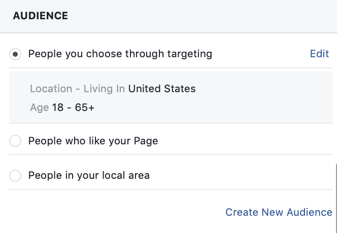 Audience selection in Facebook Ads