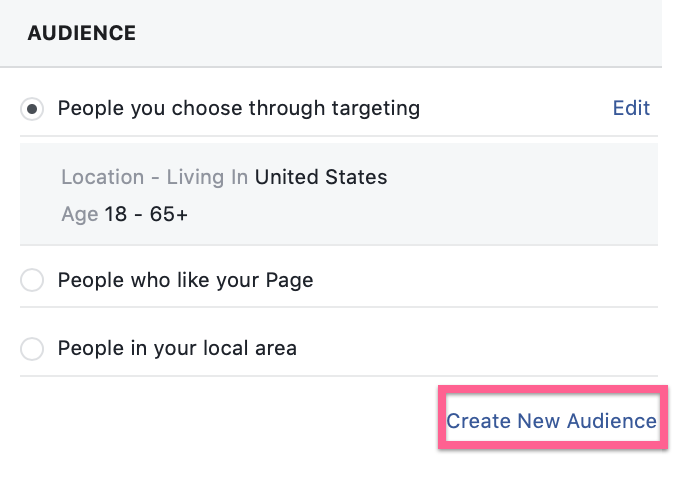Create new audience button in Facebook ads