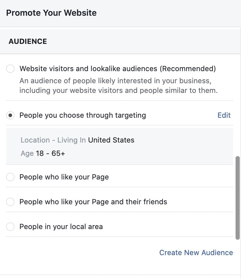 Facebook ad creation audience targeting options