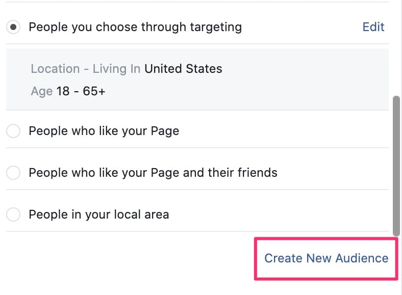Facebook ad creation screen create new audience button
