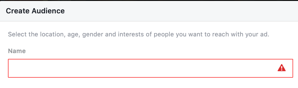 Naming your Audience in Facebook Ads creation