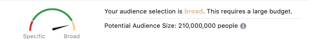 Audience size dial in Facebook ads
