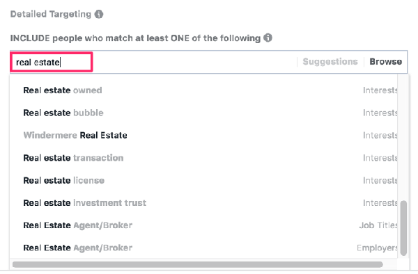 Facebook Ad for Motivated Seller Leads: Search detailed interests