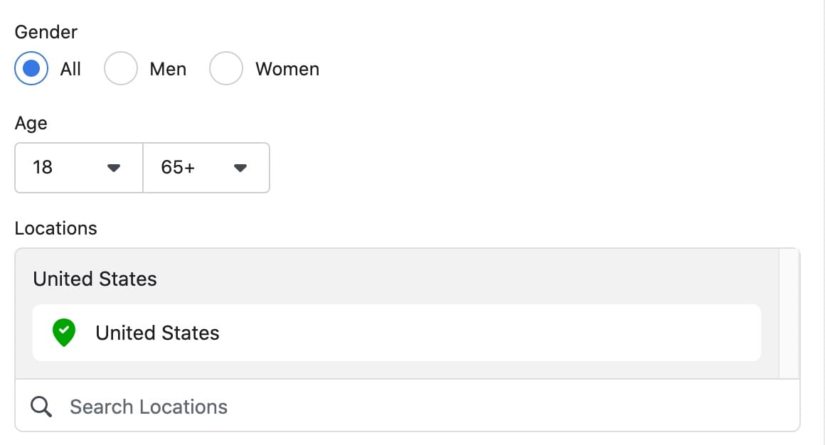 Facebook ad creation basic demographic targeting settings