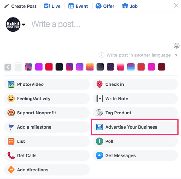 Facebook Ad for Motivated Sellers: Advertise Your Business Button