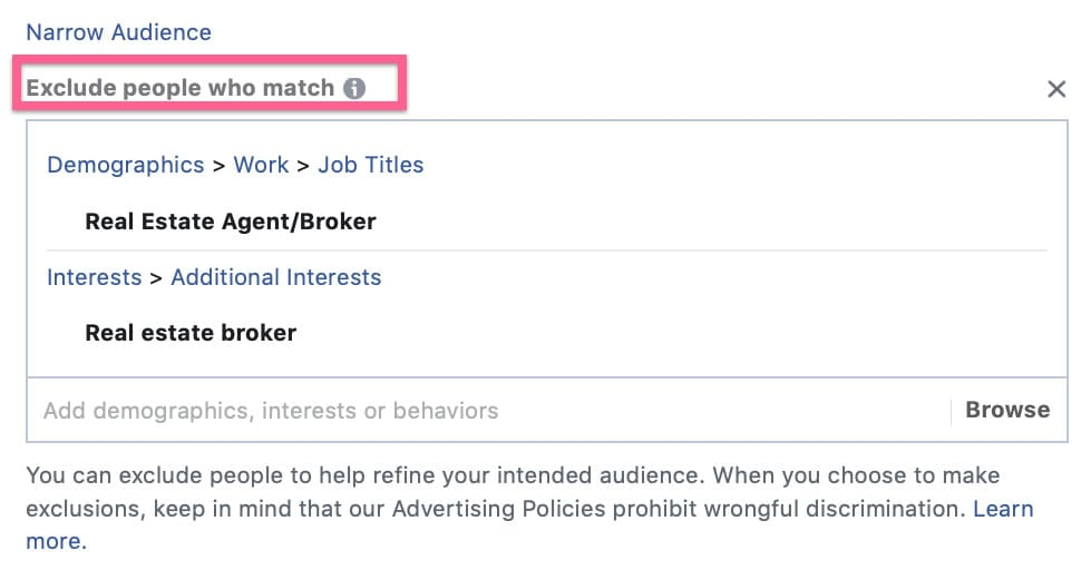 Audience Exclusion selection in Facebook ads