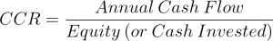Rental Property Cash on Cash Return Equation