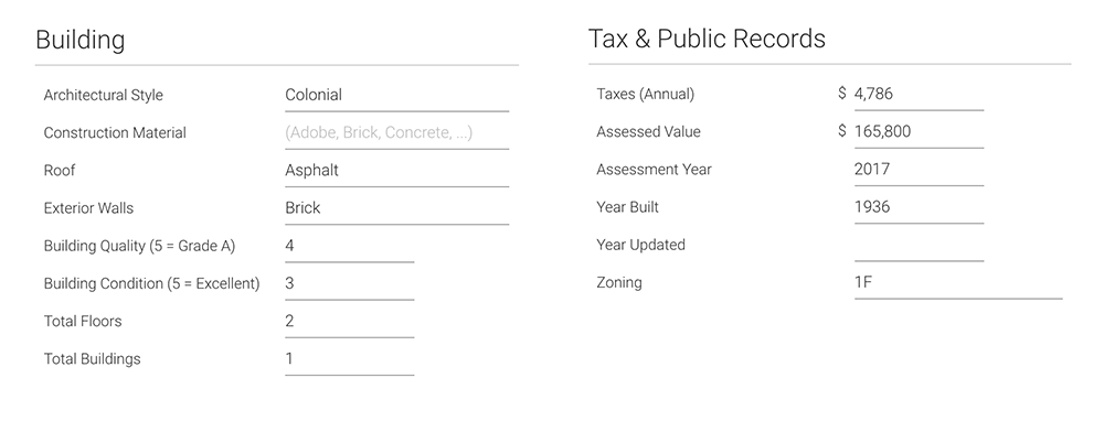 Property Data Features Header
