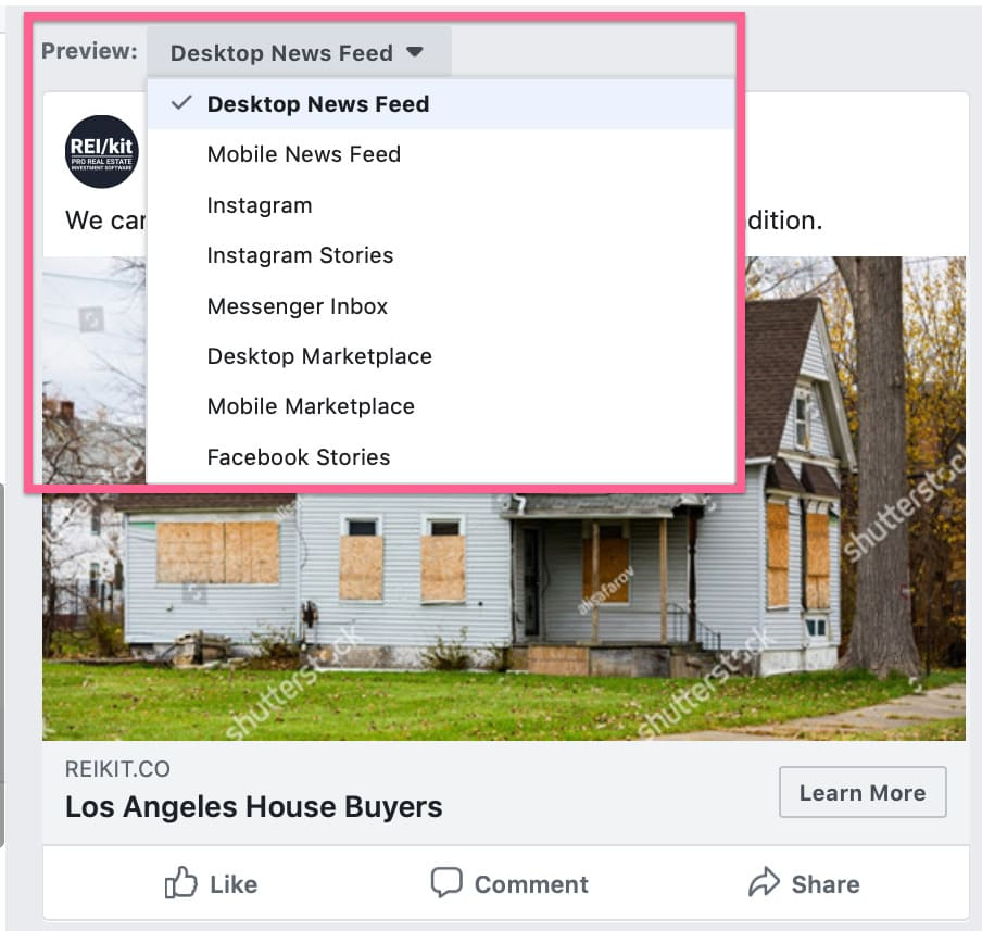 Viewing options for Facebook ads