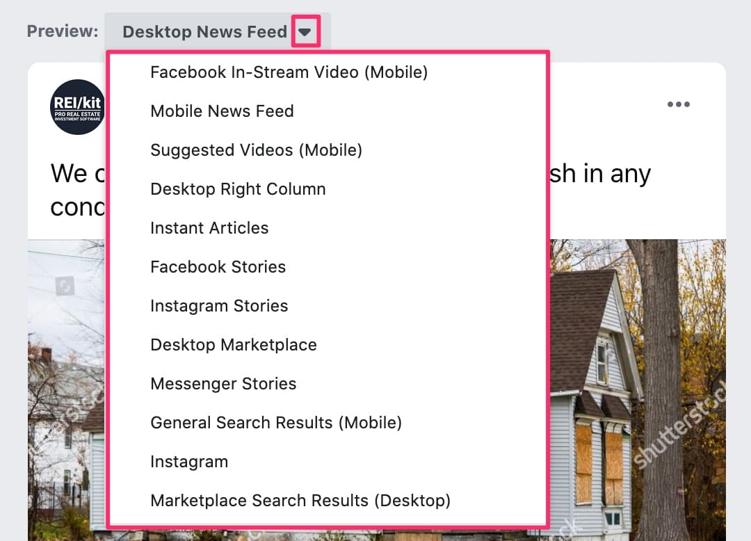 Facebook ad creation select placement preview dropdown