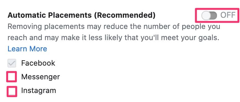 Facebook automatic placements toggle