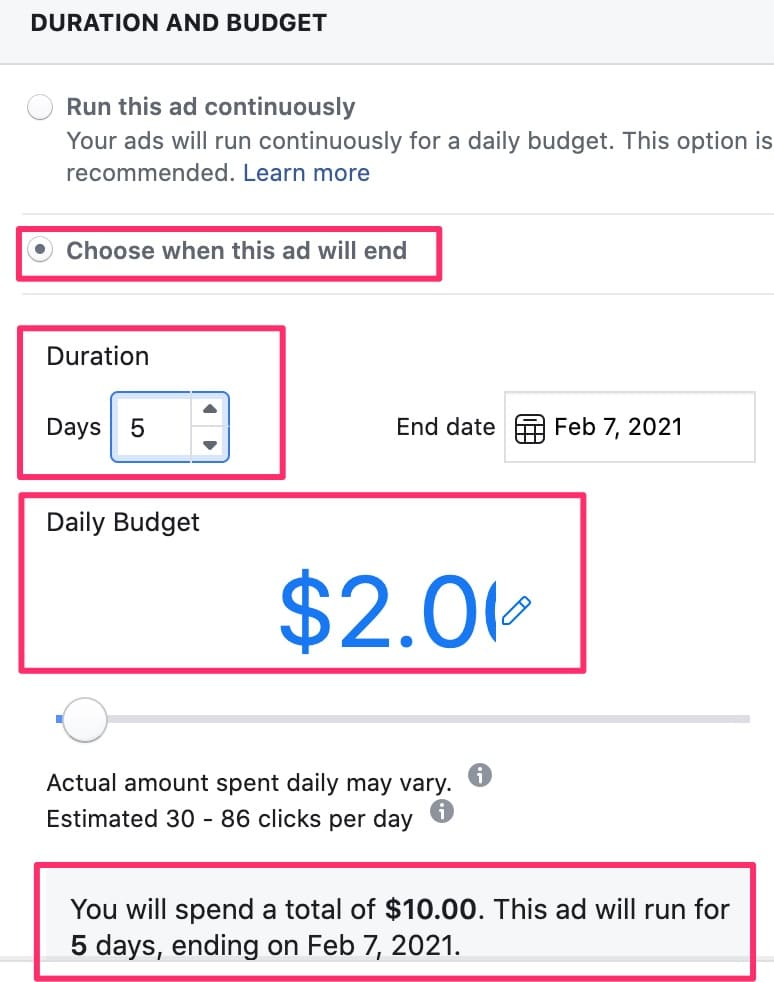 Facebook duration and ad budget criteria