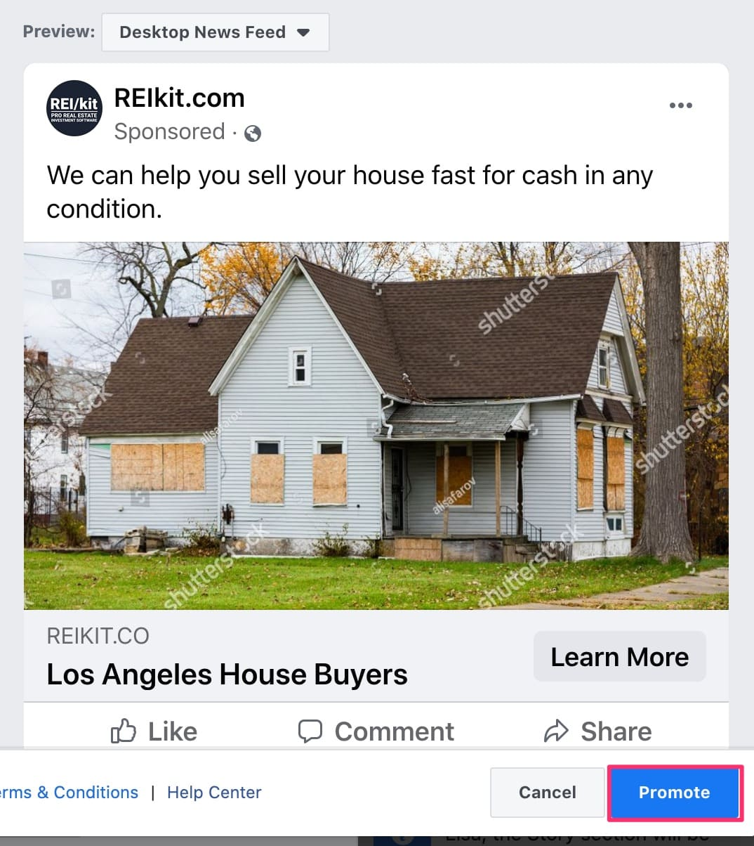Facebook Ads promote button