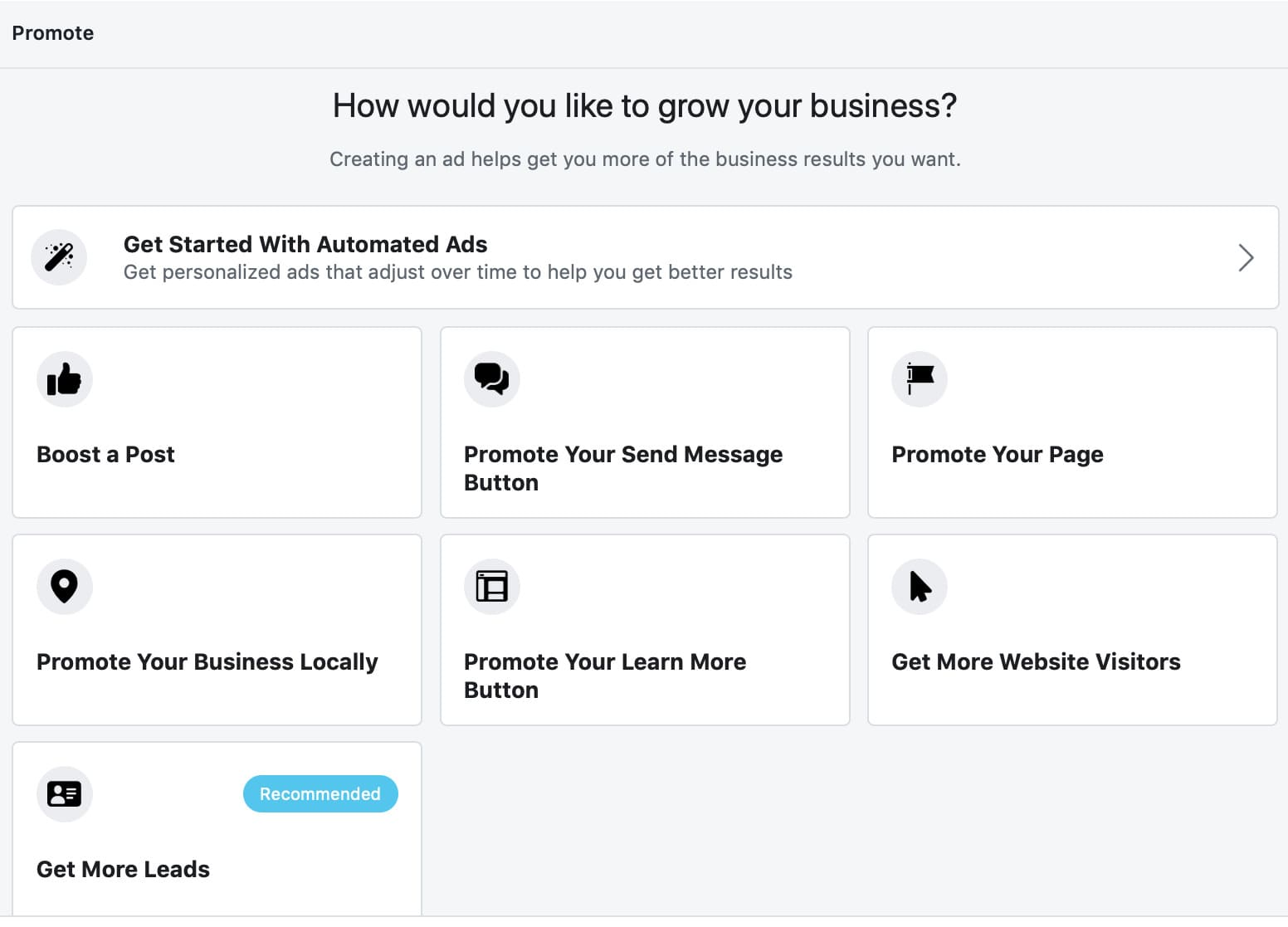 Facebook ads interface to choose goal for promoting website