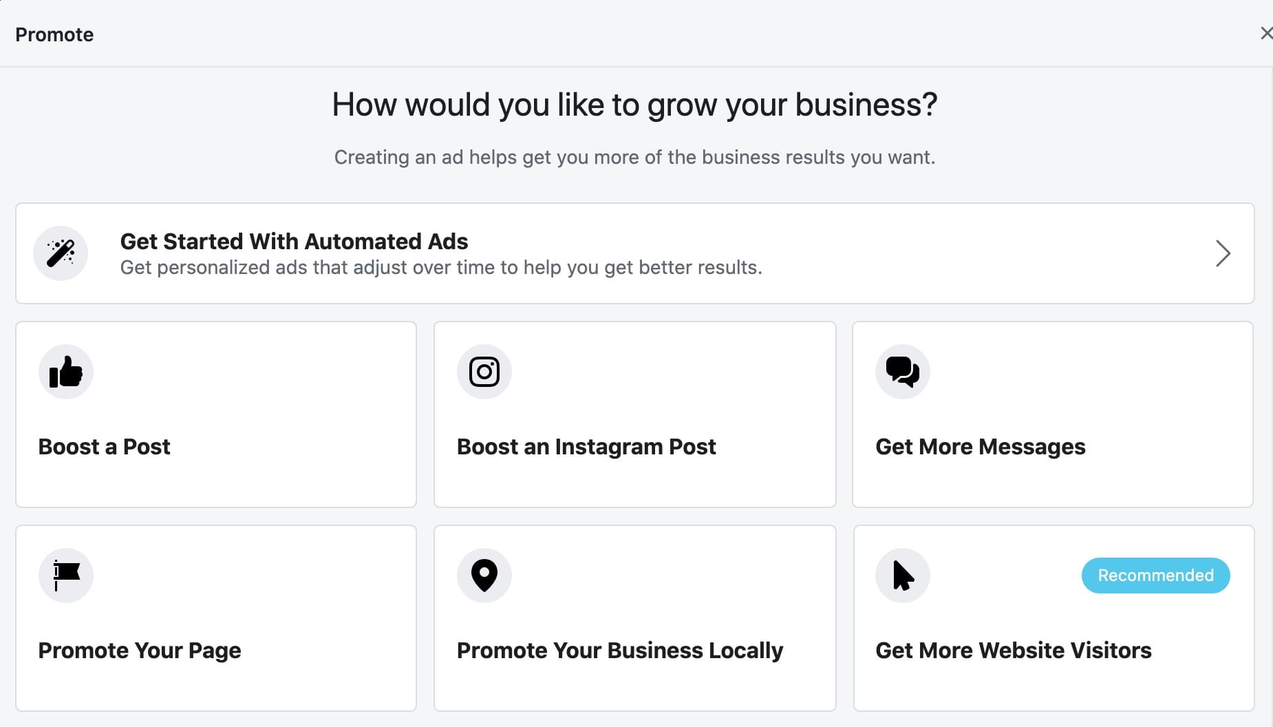 Facebook Ad choose goal screen