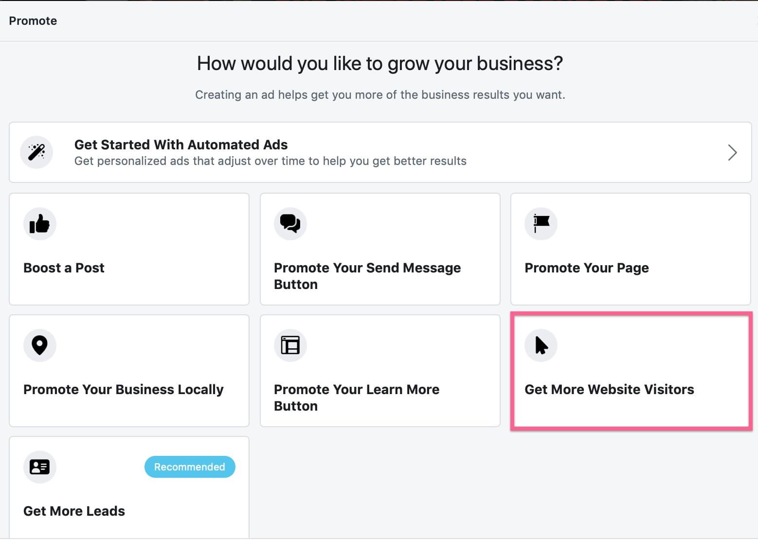 Get more website visitors goal in Facebook ads