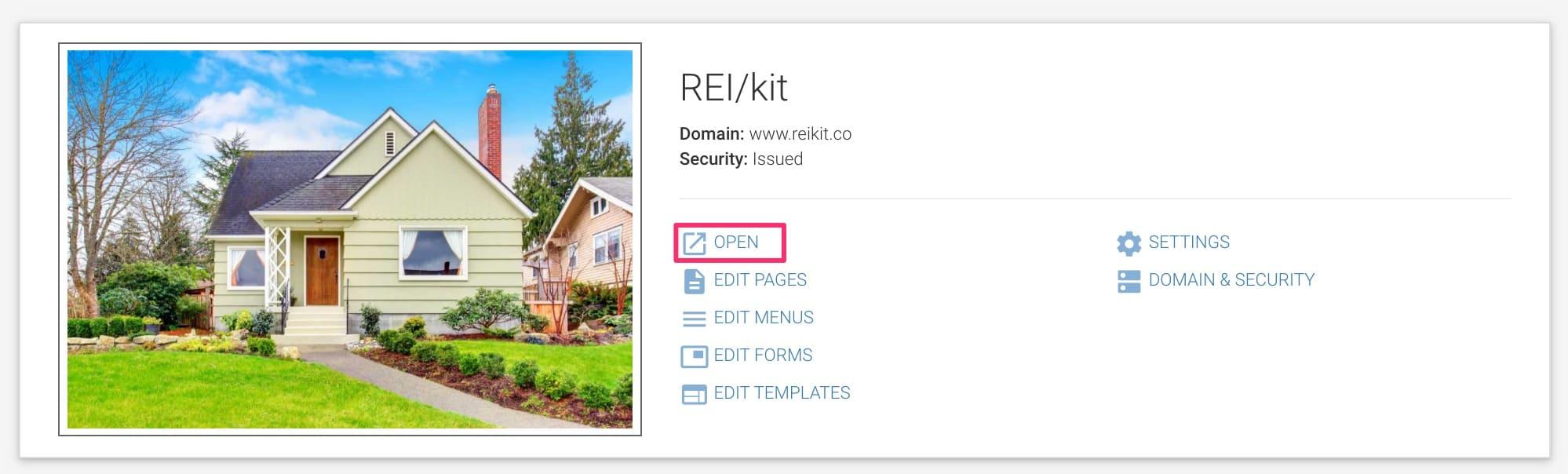 Website settings screen to open REIkit website url