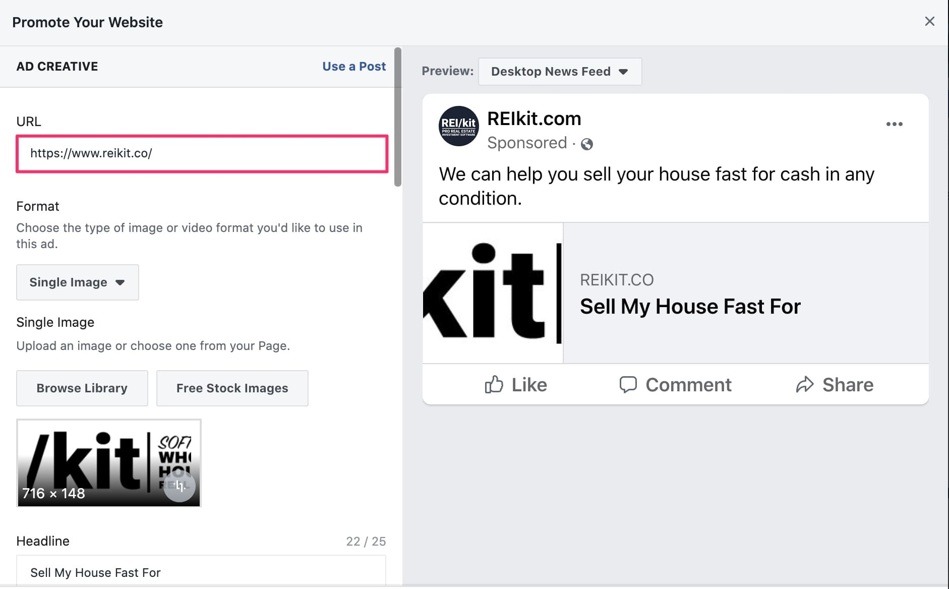 View of Facebook ad interface after destination url