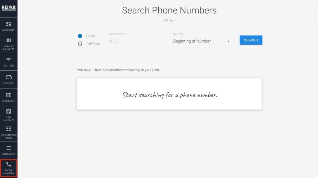 Phone numbers tool screen in REIkit