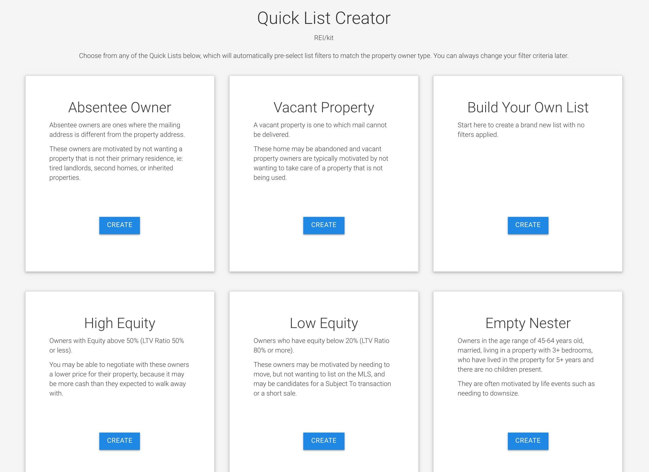 REIkit Leads List Tool Quick List Creator Screen