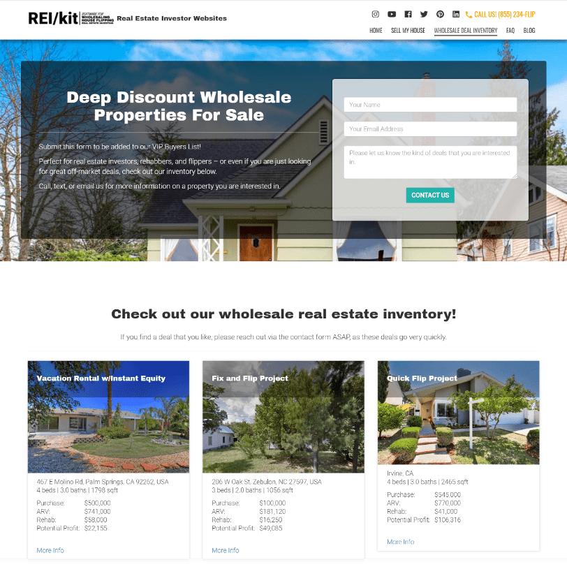 REIkit Wholesaling Buyer Inventory Website